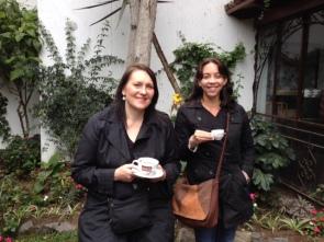 Sarah and Mistina enjoying a cup