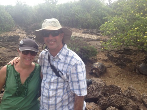 Kerry, Matt and a Giant Tortoise