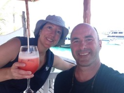 Cocktails after our swim
