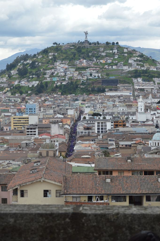 View of the Procession and Virgen De Quito from the Cathedral